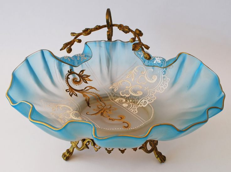Bride's bowl - Enamelled satin glass bowl with metal holder c.1890.
