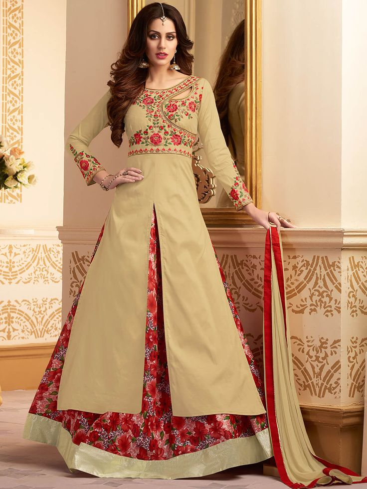 Alluring beige santoon ceremonial wear designer anarkali suit. Having fabric santoon, nazneen, taffeta and silk.  #mydesiwear #AnarkaliSuits #Wedding #SalwarSuits #OnlineShopping #FloorLengthAnarkali #PunjabiSuits #Santoon #PartyWearSalwarSuits #AnarkaliSalwarKameez #BuyWeddingSuits #WeddingTrendz #StyleWedding #weddingfashion #indianbride #weddingfestival #bridalgown