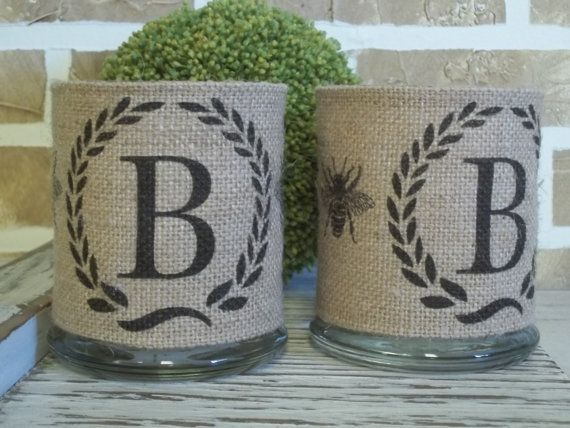 Personalized Burlap Candle Holder Set by SimplyFrenchMarket, $36.00