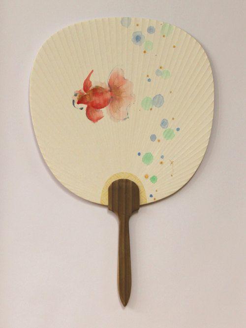 Japanese fan Fish drawing Goldfish drawing Hand by ArtGalleryReina, $39.50