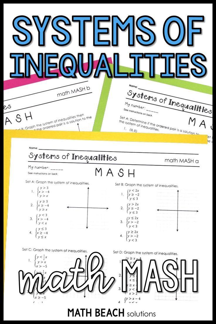 Systems Of Linear Inequalities Math Mash Activity Algebra