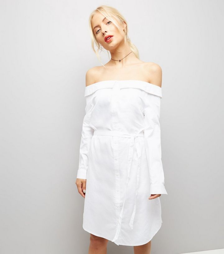 Robe chemise blanche à col Bardot | New Look