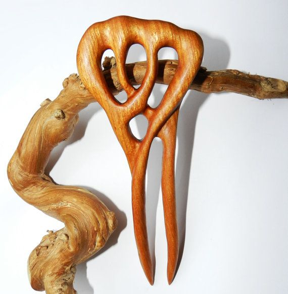 Заколка для волос из дерева Золото джунглей от OakForestwoodwork