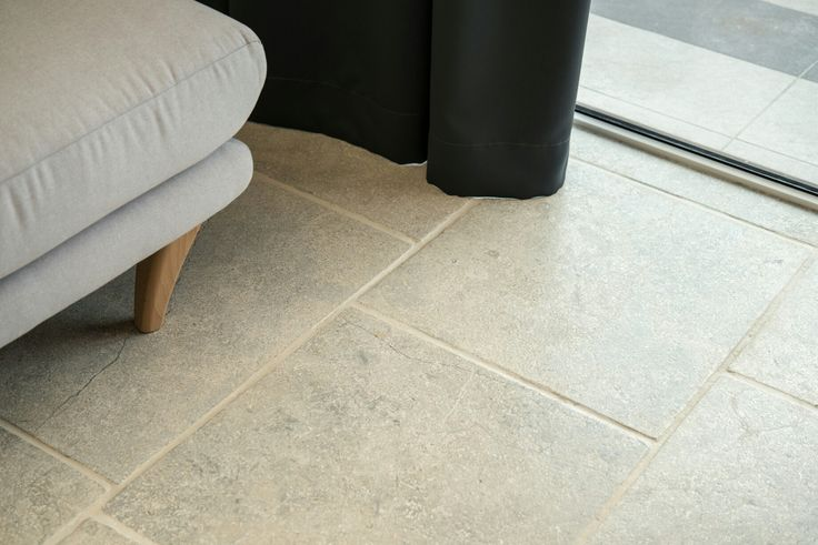 Gray limestone floor antique look