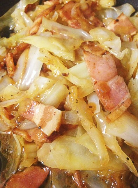 bacon braised cabbage - substitute butter for chicken stock