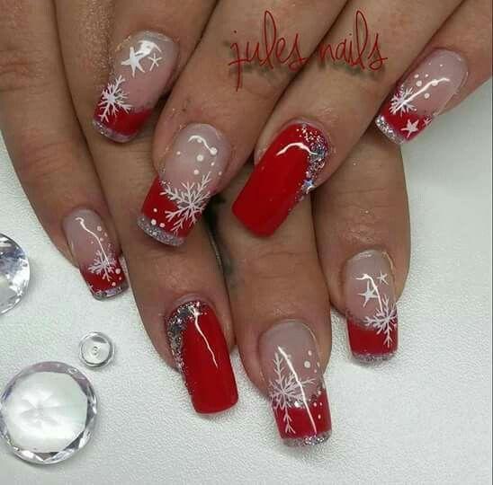 French rosso argento glitter rosso strass fiocchi di neve