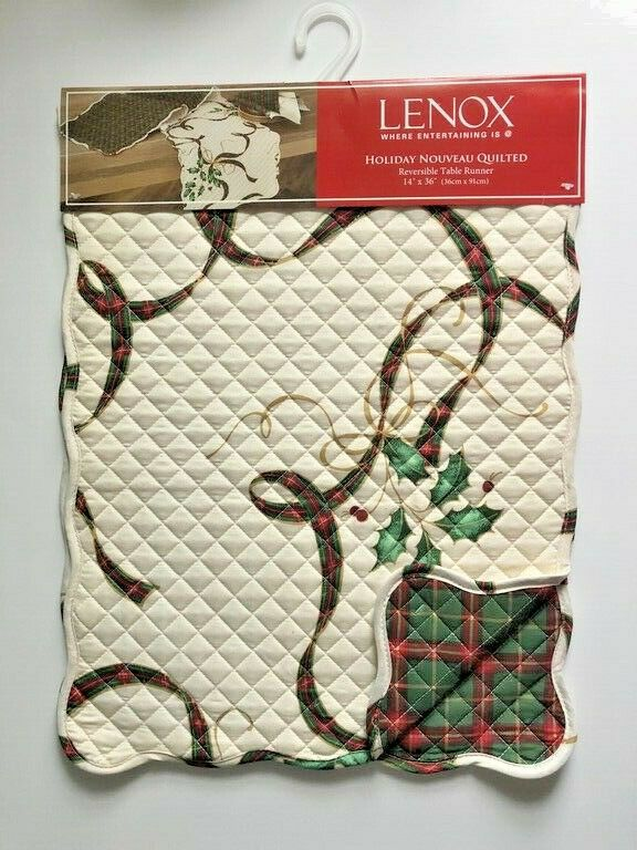 Lenox Christmas Quilted Table Runner Reversible Nouveau Tartan Ribbon Ivory 36 Lenox Holiday Christmas Lenox Tealight Candle Holders Lenox Christmas