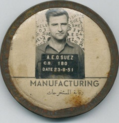 Searching for a mystery man - this badge was found in a flea market and donated to the Expatriate Archive Centre. It is from Shell in Egypt in 1951.