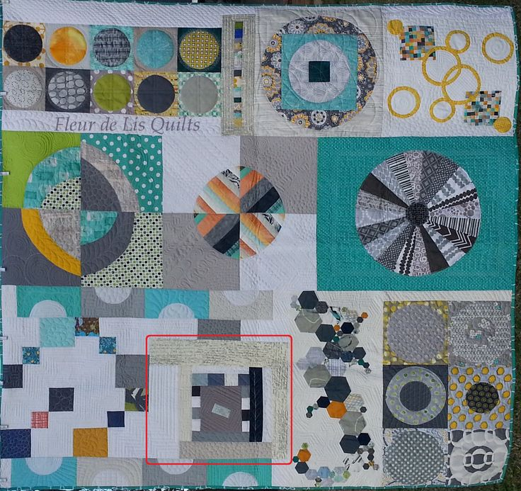 My finished Quilt from the La. Traveling Quilt Bee.  Love the colors and interesting ideas that the other quilters  came up with.  Read about it http://fleurdelisquilts.blogspot.com/2015/03/modern-monday-finish-louisiana.html #LouisianaTravelingQuilt, #MaryMarcotteTravelingQuilt,