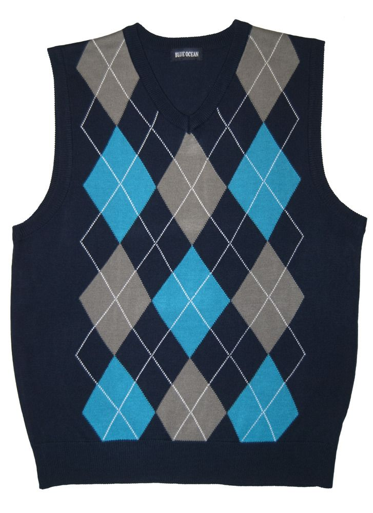 Navy Argyle Sweater Vest for Men    www.yookstore.net