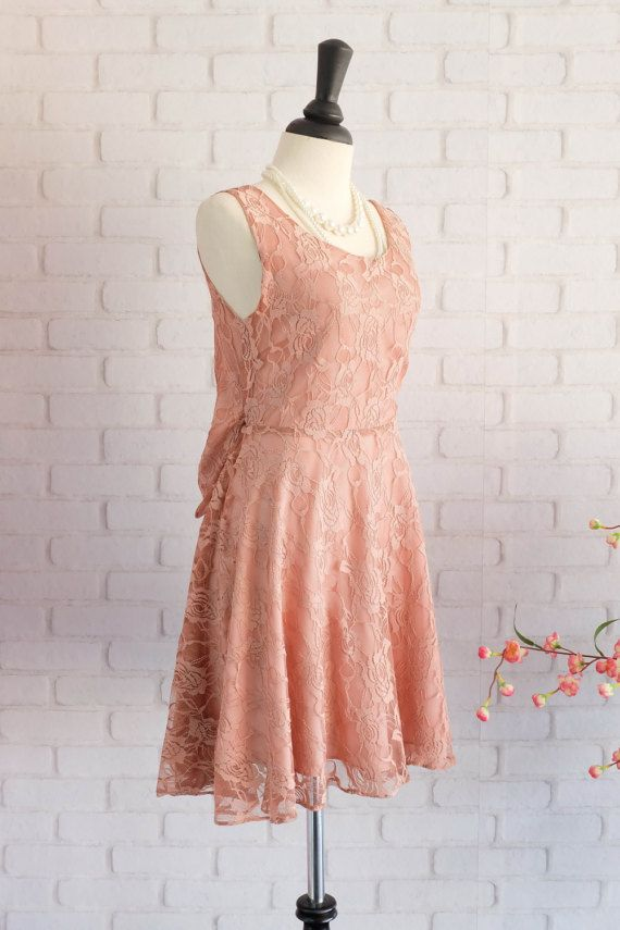 Nude Brown dress Brown lace dress Brown by LovelyMelodyClothing