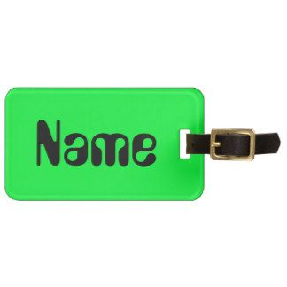 Black on Green Luggage Tags