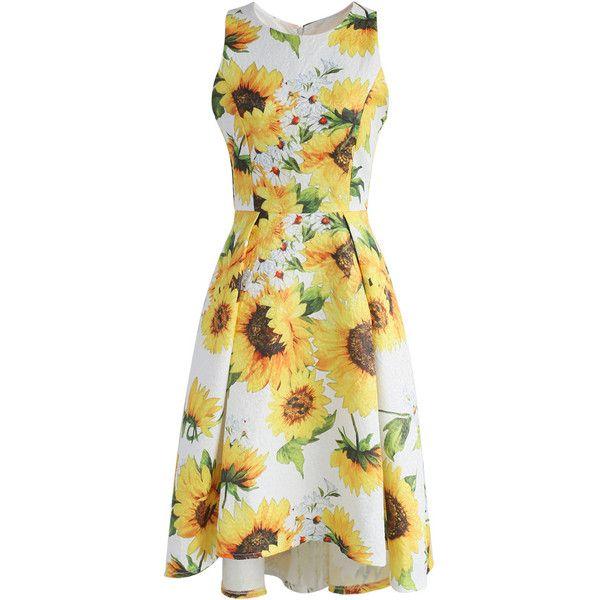 Robe De Tournesol, Tournesol, Robe Jaune, Robe Blanche, Robes De Fleurs,  Robes De Jour, Jaune Soleil, Fleurs Soleil, Yellow Cocktail Dresses
