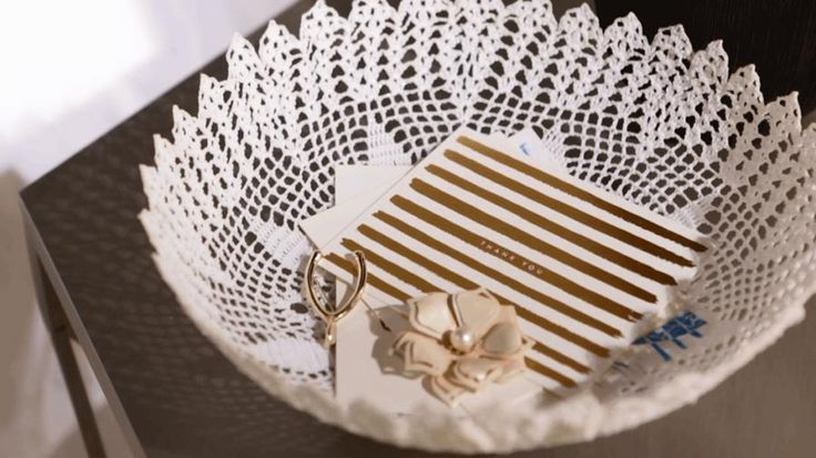 Make a pretty decorative bowl from a doily and a secret ingredient. Watch and learn how!