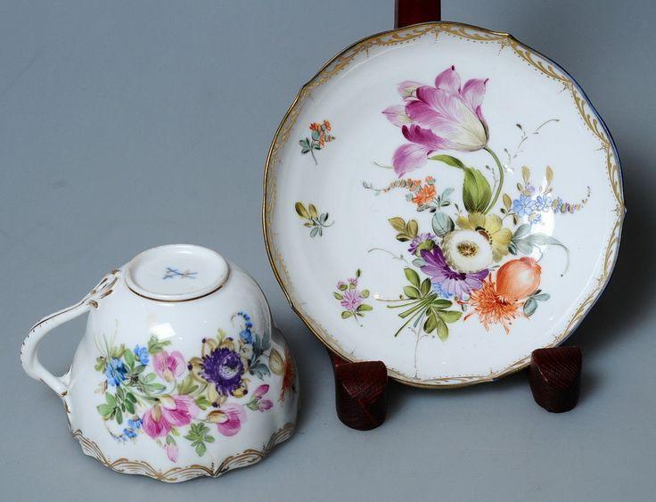 1830s Biedermeier Authentic Antique Meissen Porcelain Cup Saucer Rich Painting | eBay