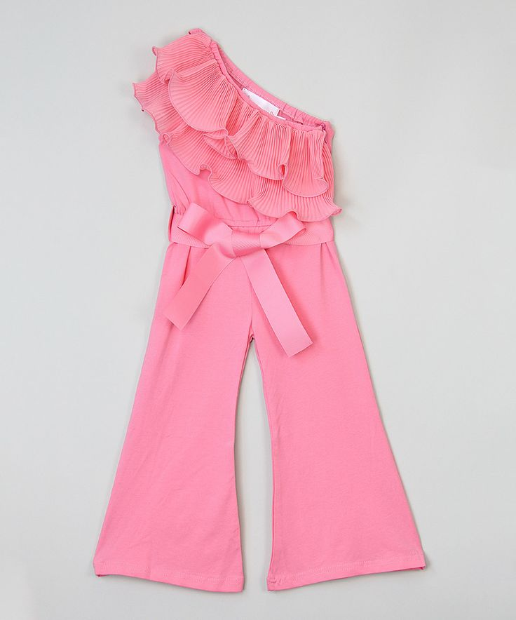 Loving this Dark Pink Asymmetrical Ruffle Jumpsuit - Infant, Toddler & Girls on #zulily! #zulilyfinds