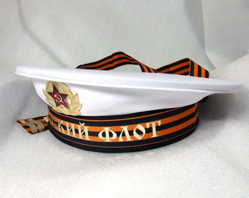Soviet-Russian-Navy-Naval-Sailor-Cap-Visorless-Hat-wth-Bands-White-Fancy-Dress