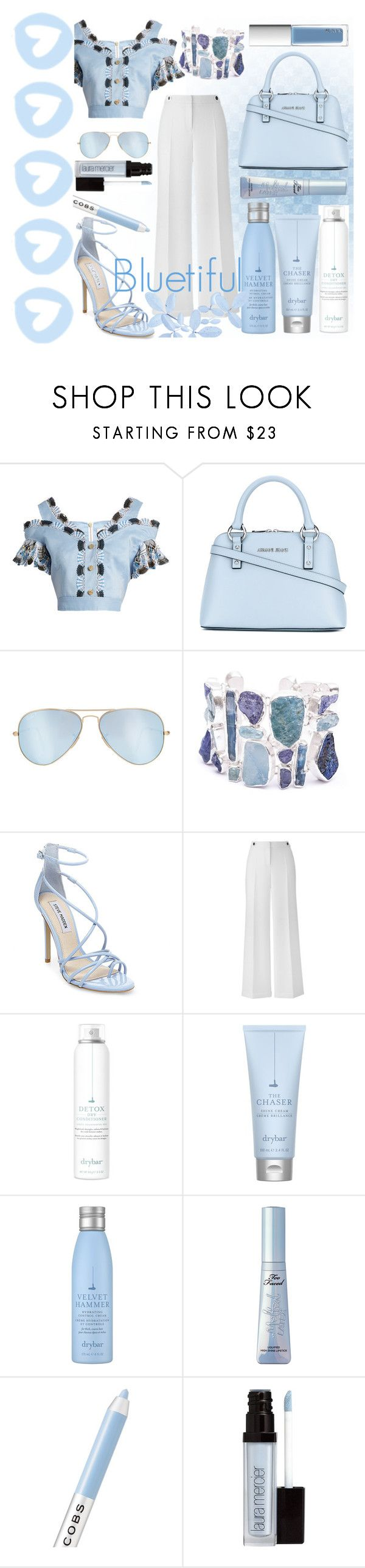 """""""Bluetiful"""" by lullulu ❤ liked on Polyvore featuring Peter Pilotto, Armani Jeans, Ray-Ban, Poppy Jewellery, Steve Madden, Drybar, Marc Jacobs, Laura Mercier and RMK"""