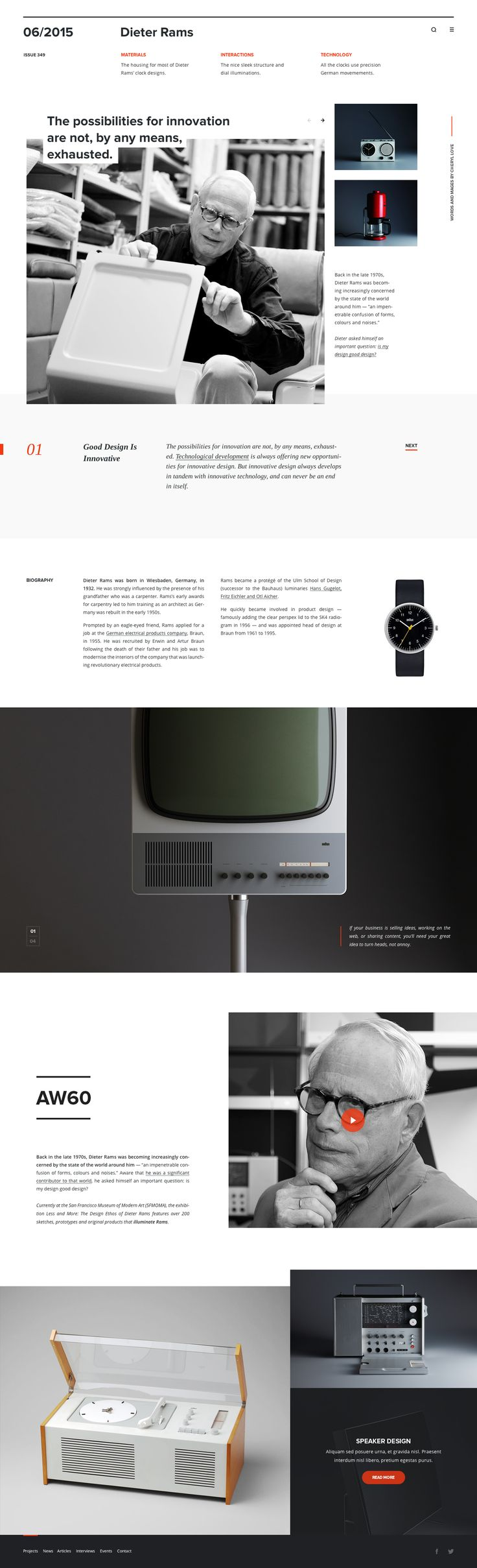 Magazine layout, website, web design, clean website