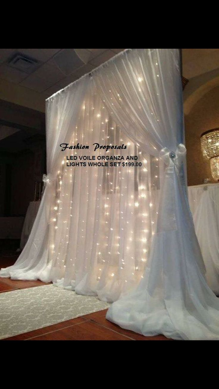 White With Lights Led Backdrop Backdrops D Voile Organza 10 Ft Wide By Long Complete Set Reception Decoration Off Retail