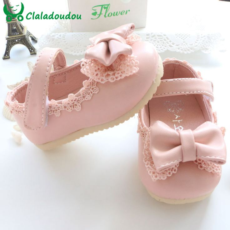 Sale 2015 Spring/Autumn Baby Girl Shoes Cute Lace Bowknot Princess First Walkers  Enfant  PU Leather Shoes For Party Size 4-9.5