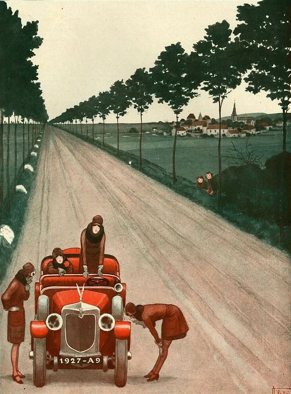 car  Illustration by Armand Vallee For La Vie Parisienne 1920s