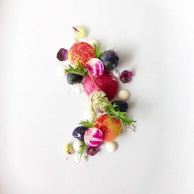 Purple Brussels Sprouts, Chioggia Beets, Arlet Apple, Horseradish, Bacon Fat by adamseancron on IG #plating #gastronomy