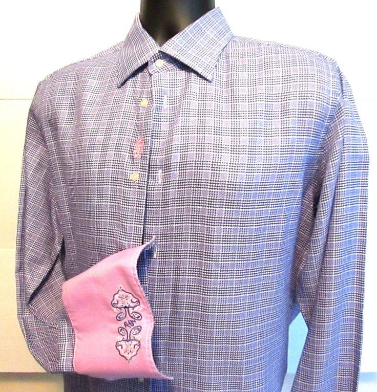 Mens Robert Graham Button front dress shirt embroidered Size L pink blue EUC ! #RobertGraham