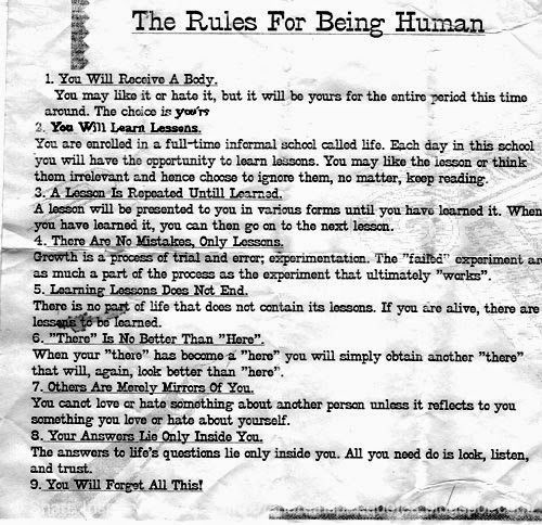 The RULES FOR BEING HUMAN...   Share Inspire Quotes - Inspiring Quotes   Love Quotes   Funny Quotes   Quotes about Life