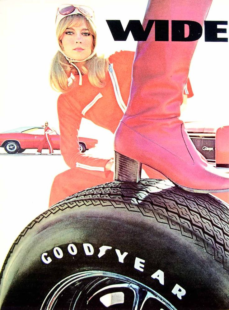 1969 Ad Vintage Goodyear Wide Boots Tread GT Tires Automobile 60's Fashion YHR3