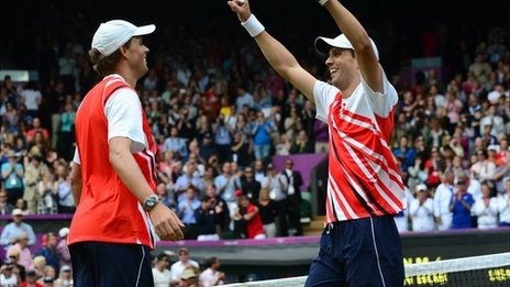 The Bryan brothers win their first Olympic gold medal with a 6-4 7-6 victory over second seeds Jo-Wilfried Tsonga and Michael Llodra of France