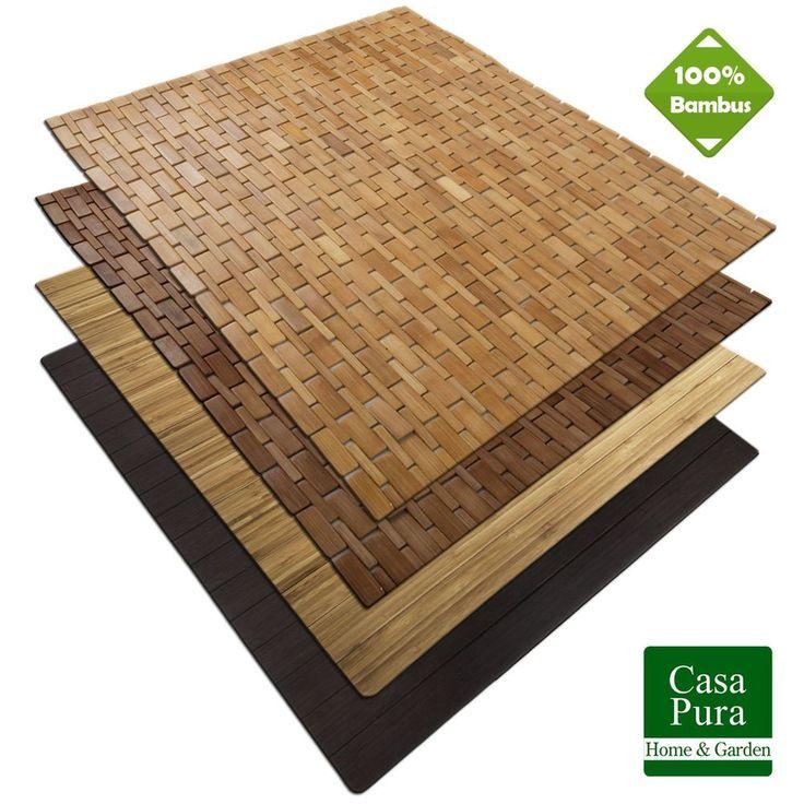 BAMBUS Badematte | 60x90cm | Badvorleger Badematten Bambusmatte Saunamatte Holz