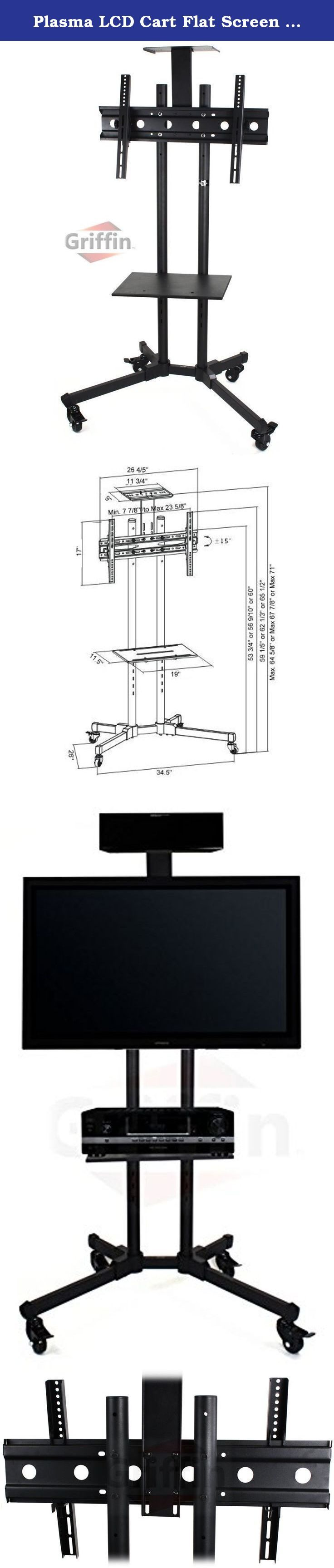 "Plasma LCD Cart Flat Screen Panel TV Stand Mount Nesting AV Mobile Wheels Caster with Shelves 70"" Griffin. Optimal for 37 inch to 70 inch flat television screens, this heavy duty sturdy rolling plasma TV stand on wheels with storage shelves is perfectly suited for the mobile display of a flat panel/LCD monitor with its welded steel tubing construction. The nesting plasma TV cart with DVD player shelf features four (4) heavy duty support legs comprised of deluxe metal and 2 inch (50mm x…"