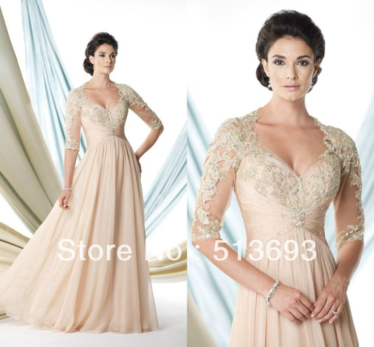 2014 Champagne V-neck Floor Length Free Shipping Crystals Lace Chiffon Long A-line Mother of the Bride Dress with Sleeves  $118.00