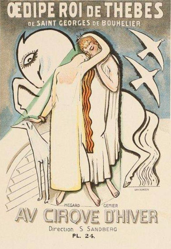 Theater Poster by Kees van Dongen (1877-1968), ca. 1930, Oedipe roi de Thèbes de saint Georges de Bouhelier, Cirque d'Hiver, Lithograph #bird #Horse #dog #kiss #couple