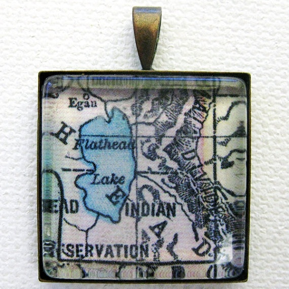 Flathead Lake Montana Antique Map Necklace Pendant