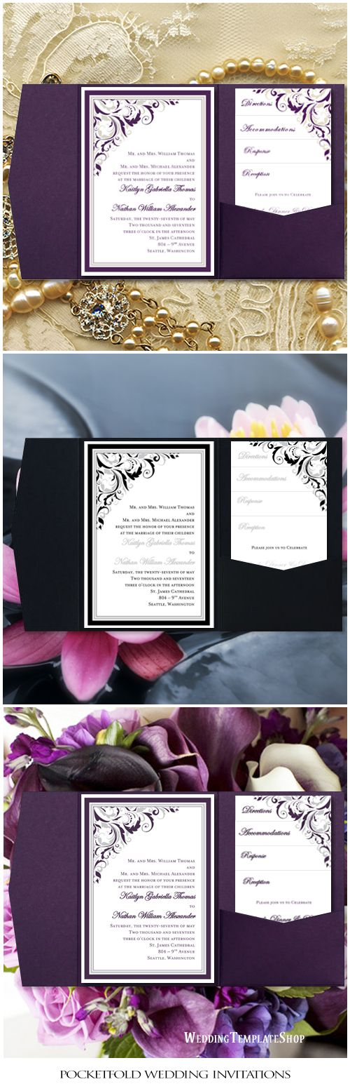 printable samples of wedding invitations%0A Pocket Fold Wedding Invitations Brooklyn Purple    Champagne  x