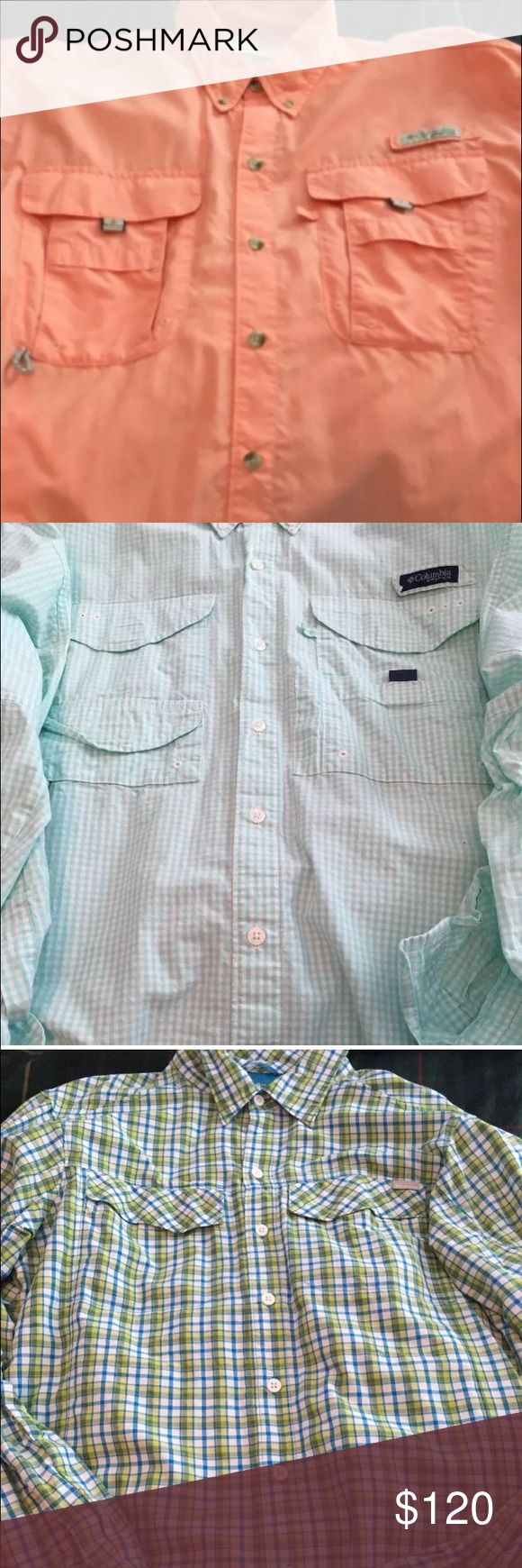 4 PFG Shirts in an AMAZING Bundle Most haven't been worn! New Performance Fishing Gear shirts, sizes Small and Medium. Perfect for boat, beach, or just everyday! Feel free to make offers or ask questions, always happy to help. Orange, blue, green smaller. Green blue checker is medium. If you're interested in an individual let me know :) PFG Shirts