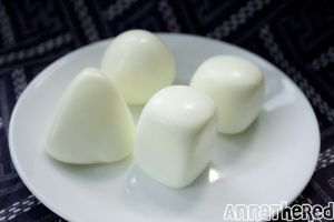 various shaped boiled eggs