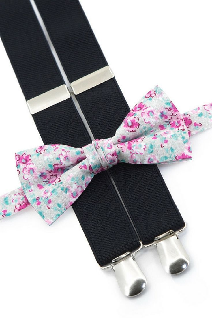 5ce9096ed4cf Floral bow tie & black suspenders and more other combinations in our store!  Special 10% discount - coupon code PIN10 #floral #weddings #pink  #weddingtrends ...