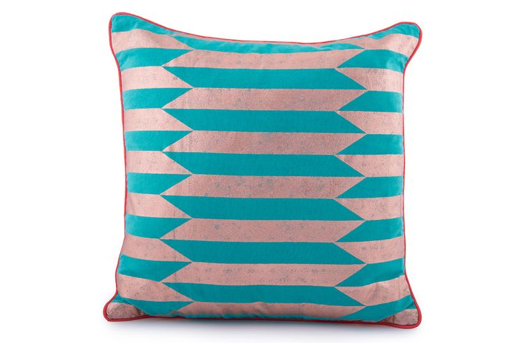 Stripe Foil Printed Cushion Cover with Contrast Piping by Suraaj Linens