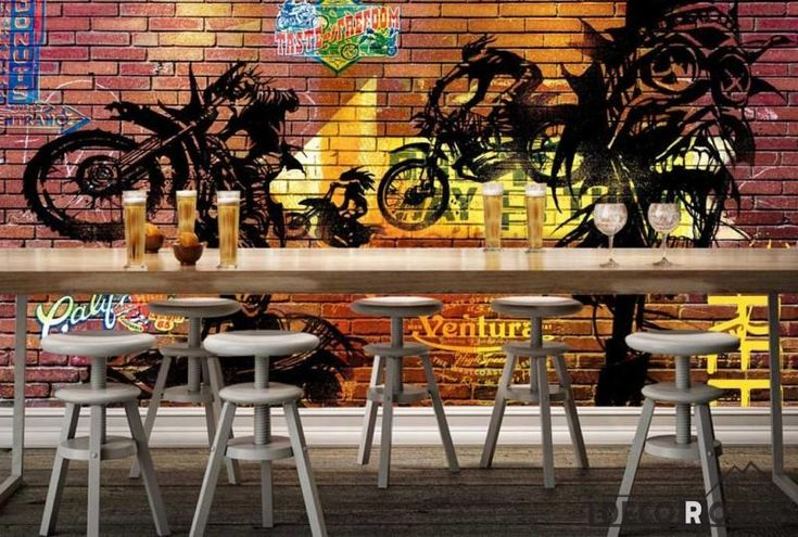Colorful Brick Wall Black Drawing Motorbike Restaurant Art Wall Murals Wallpaper Decals Prints Decor