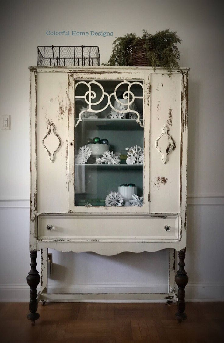 Sold vintage china cabinet shabby chic cabinet farmhouse cabinet