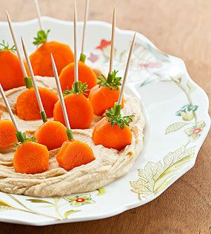 Pumpkin Patch Dippers Fun Food Möhren Karotten carrots humus frischkäse creamcheese Kürbis