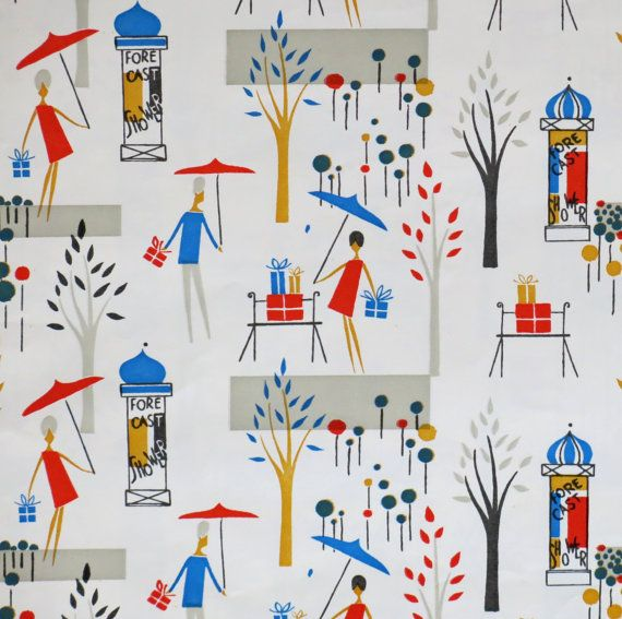 Vintage Dennison Gift Wrap Wrapping Paper by MidCenturyAddiction