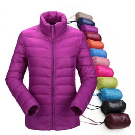 Women Ultralight Jacket Duck Down Outwear Lady Parka Coat Slim Padded Overcoat Basic Regular S-4xl Polyester None Casual Solid Winter Zip China