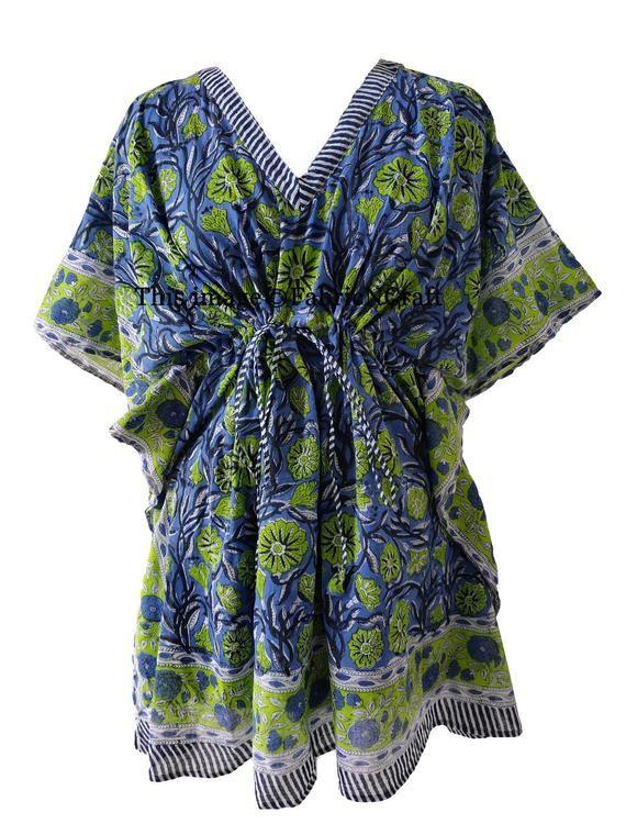 One Size Kaftan Beach Coverup Beach Dress India Kaftan Floral Print Indian Hand Block Printed Short Kaftan Pure Cotton Beach Caftan