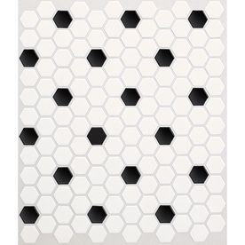 10-Pack Satinglo Hex Ice White with Black Dot Ceramic Mosaic Random Indoor Only Floor Tile (Common: 10-In x 12-In; Actual: 10.5-in x 12.5-in)
