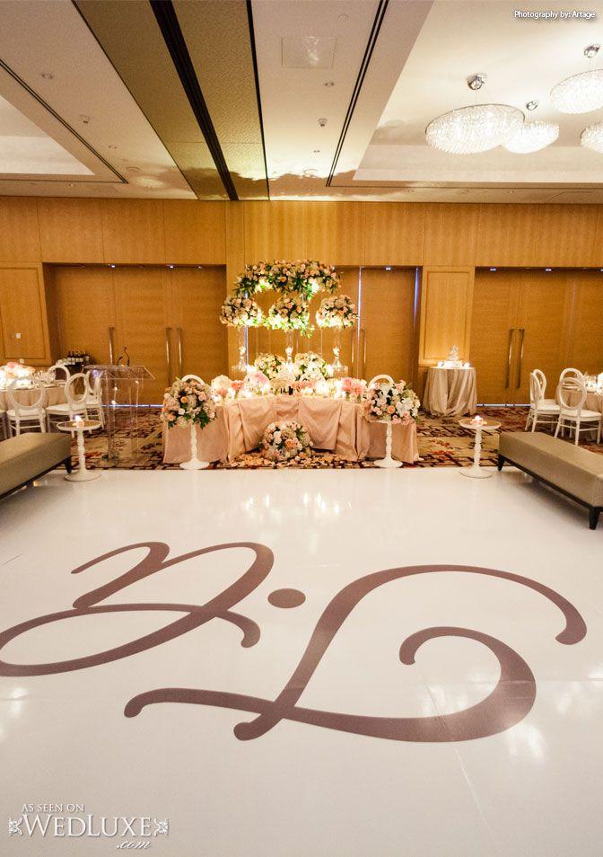 WedLuxe: #Toronto #wedding held at the Shangri-La Hotel featuring a custom #dance floor by Dance Floor Decor