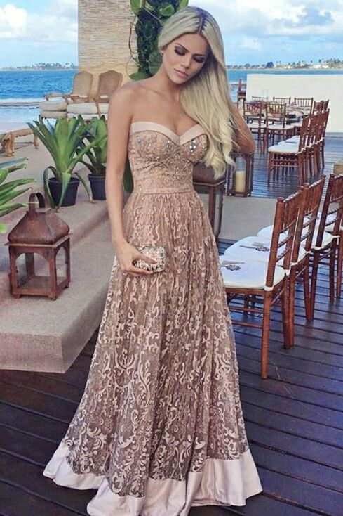44f7a3a5c9a A-Line Sweetheart Floor-Length Champagne Lace Prom Dress with ...
